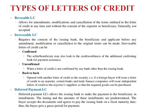 Paying Bank Letter Of Credit Letter Of Credit