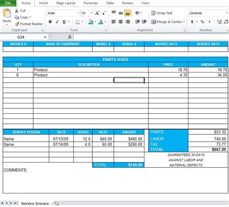 professional service invoice template excel excel tmp
