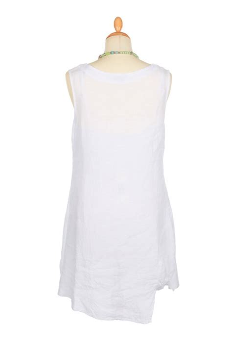 Tunic Aurel banana blue white linen tunic