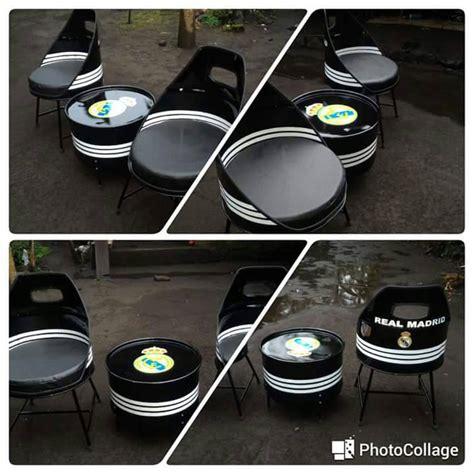 Kursi Tong Bekas jual 3in1 kursi set tong bekas drum motif sofa meja gratis