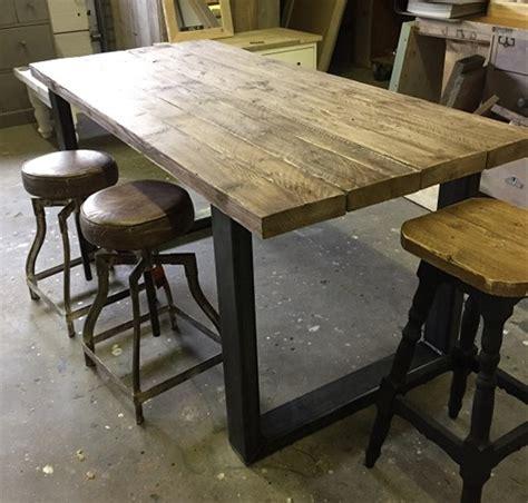 hoge eettafel hout hoge tafel industrieel hout ijzer op maat hillshome