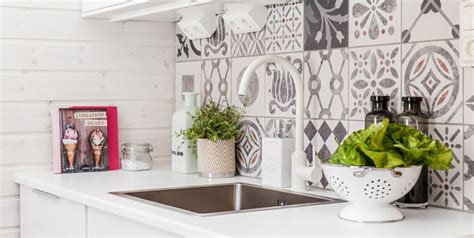 grey patterned splashback black and white pattern cement tiles interiors by color