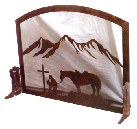 western furniture cowboy at the cross fireplace screen
