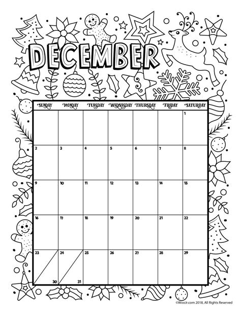 december color december 2018 coloring calendar page