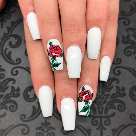 black and red love pattern fake nails japanese cute false coffin shaped nails fashionable manicure ideas for long