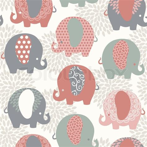 cute elephant pattern background cute colorful elephants seamless vector pattern stock