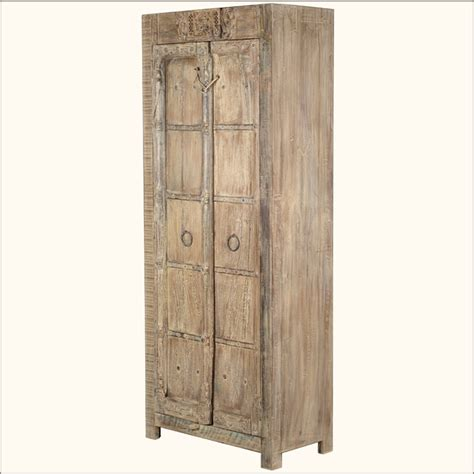 white armoire closet reclaimed wood distressed shelf white wardrobe rustic