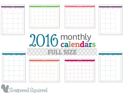 printable calendar specific dates 2016 monthly calendar printables full size edition year