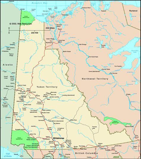 yukon map yukon territory canada political wall map maps