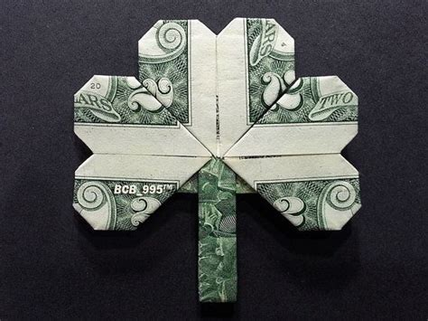 2 Dollar Bill Origami - shamrock leaf money origami luck charm dollar