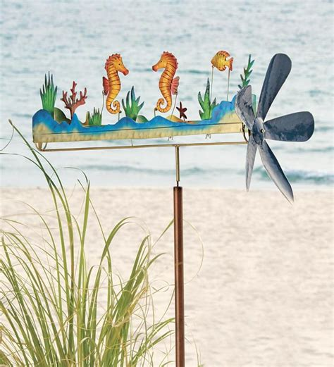 Handmade Wind Spinners - handmade large seahorse whirligig whirly gigs