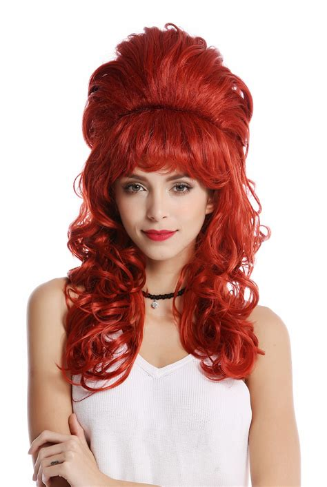 ladies updo wigs ladies wig baroque 60s beehive updo bun curly fringe red