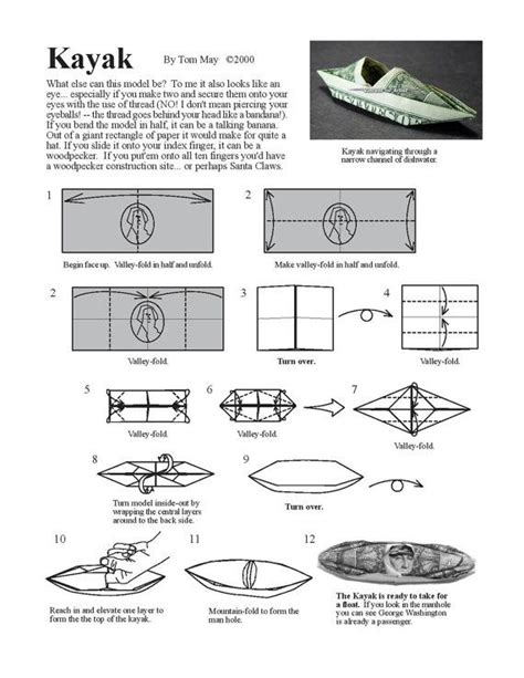 Money Origami Diagrams - kayak diagram money origami dollar bill money