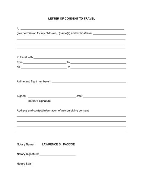 letter permission travel printable documents