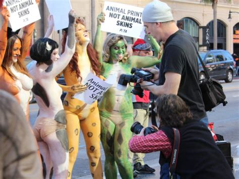 video peta activists in body paint protest in hollywood