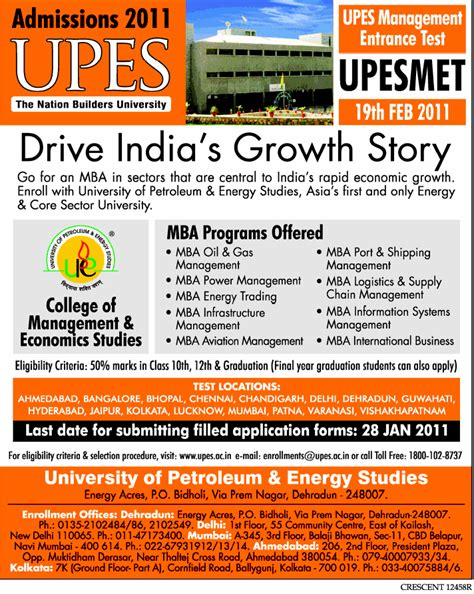 Minimum Mat Score For Mba Admission by Admision Mantra Upes Management Entrance Test Upesmet