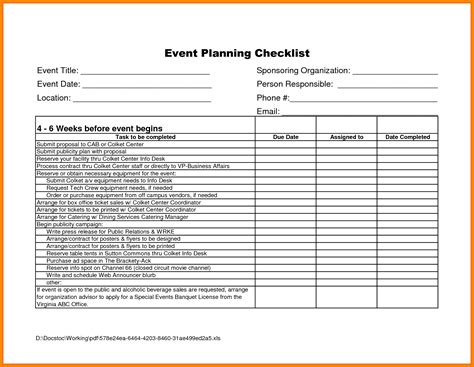 event checklist template 11 event checklist template hvac resumed