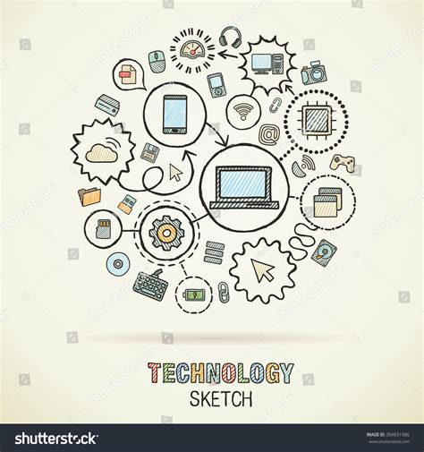 how to use interactive doodle technology drawing integrated sketch icons stock