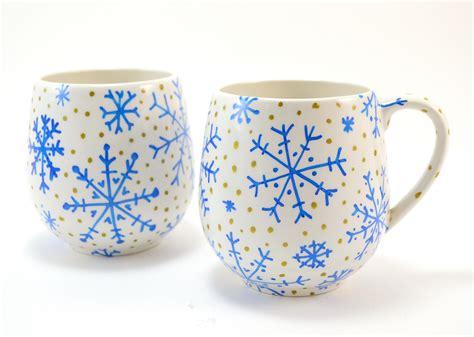 hand painted mug design simple hand painted snowflake winter mugs ilovetocreate