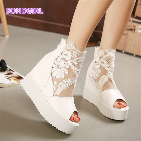 White And Silver Wedding Shoes by Newest White Silver Lace Platform Wedge Heels Dress