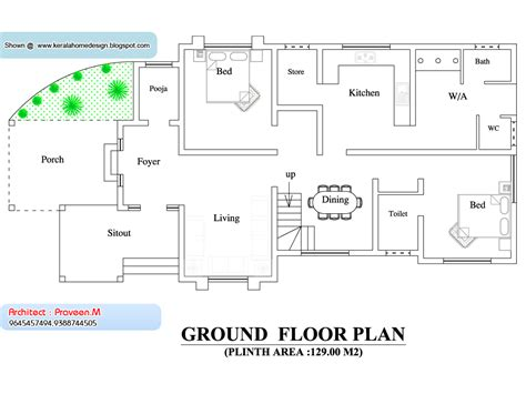ground floor plan for 1000 sq feet kerala home plan and elevation 2033 sq ft kerala