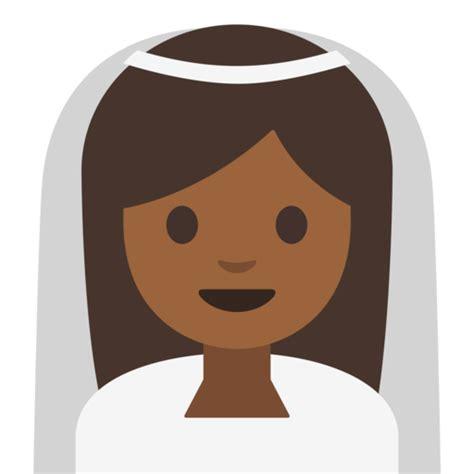 braut emoji braut mit schleier mitteldunkle hautfarbe emoji