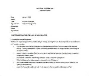 Supervisor Description Template by 10 Supervisor Description Templates Free Sle