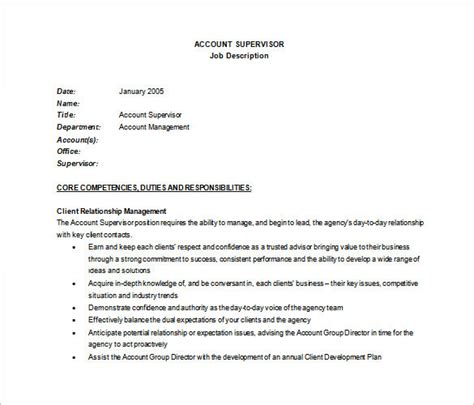supervisor description template 10 supervisor description templates free sle