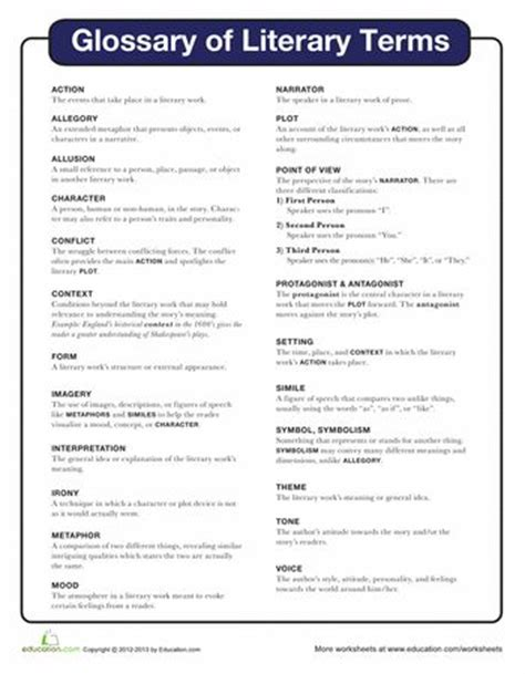 printable quiz on literary terms literary terms student centered resources the o jays