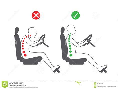 posizione toro seduto correct sitting position in driving stock vector