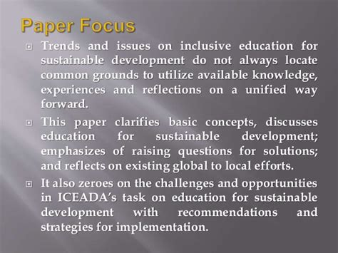 themes of education for sustainable development inclusive education for sustainable development in nigeria