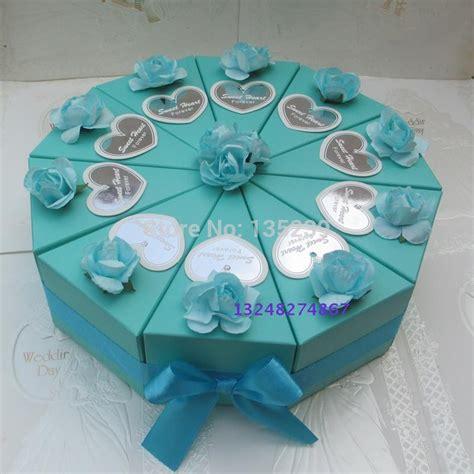 pcs blue  rose wedding cake slice centerpiece candy