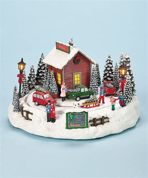music box for christmas tree lights tree farm rotating motion box w lights theholidaybarn