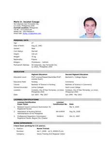 Resume Sample Format In The Philippines by Sample Resume Format Nurses Philippines Sample Resume