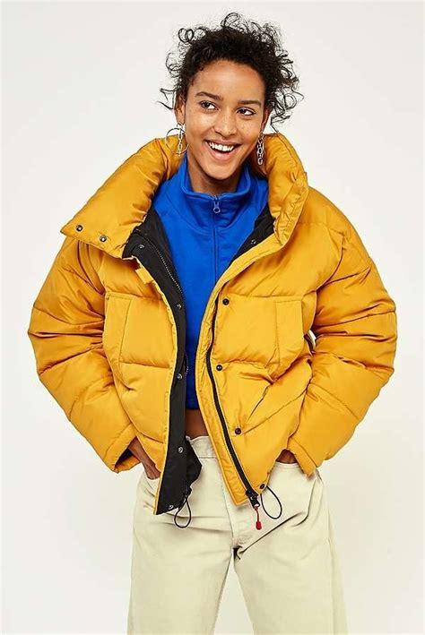 light puffer jacket with light before yellow pillow puffer jacket