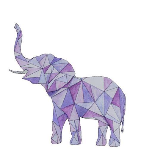 elephant tattoo purple geometric purple elephant watercolor painting print