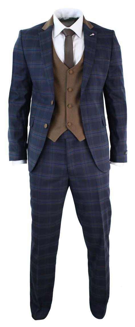 Sliming Suit 3 In 1 mens 3 tweed check navy blue 3 suit slim fit retro vintage smart ebay