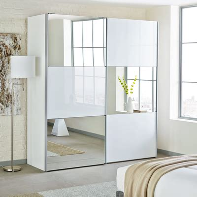 loft two door sliding wardrobe white glass with mirror dwell
