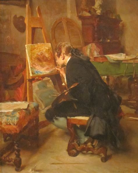 a painter file a painter oil on mahogany painting by ernest