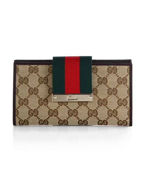 Wallet Gucci Canvas 5521a gucci web original gg canvas continental wallet in green lyst