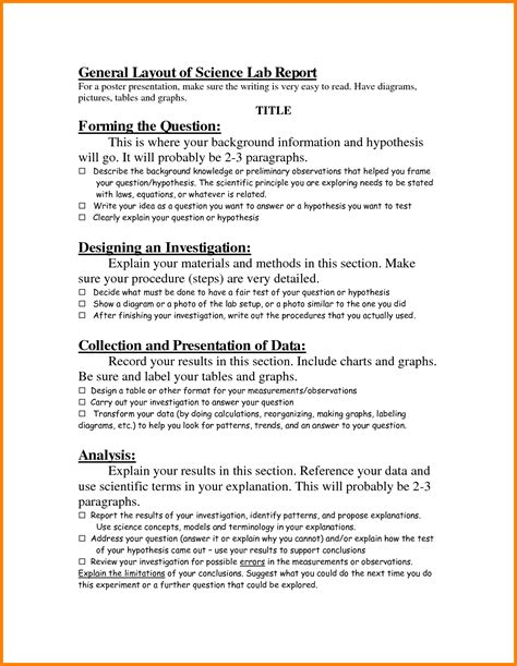 Sample Of Resume Title by 9 Layout Of Lab Report Ledger Paper