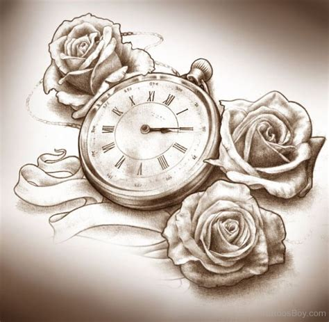clock and rose tattoos clock tattoos designs pictures page 2