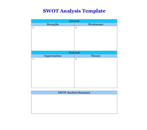 swot template for word 8 blank swot analysis templates free sle exle
