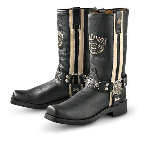 white biker boots men s jack daniel s 174 white striped harness boots black