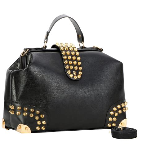 Purse Trend Black With A Touch Of Gold by Darko Black Gold Studded Doctor Style Purse Mg