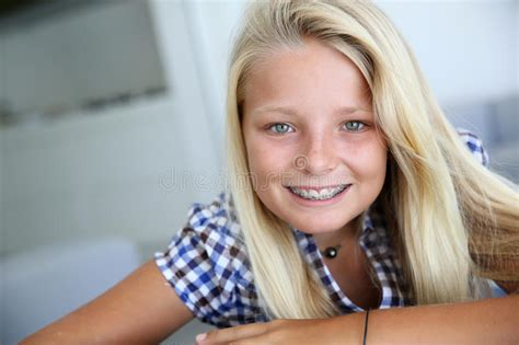 young teen girl face with braces teen with braces stock image image of sweet blond