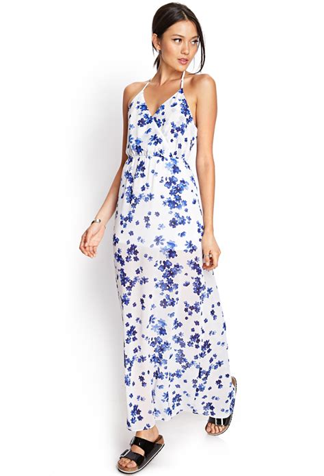 Maxi Dress Forever 8 Kode 7080 forever 21 floral maxi dress in blue lyst