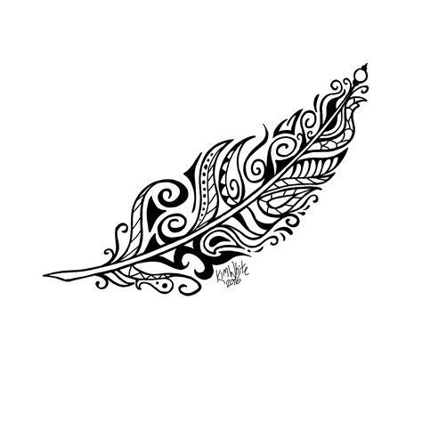 drawn feather tribal feather pencil and in color drawn