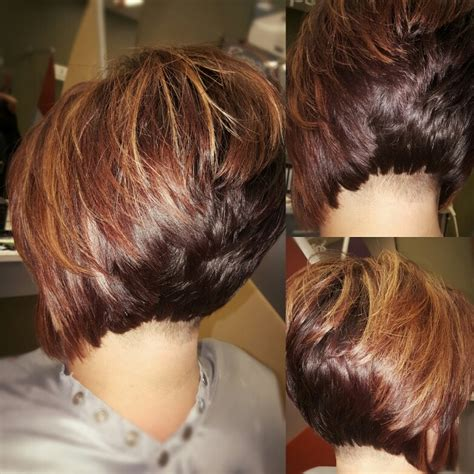 layred hairstyles eith high low lifhts undercut stacked bob with high lights and low lights