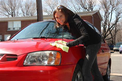 girl washing red car stock photo image  washing